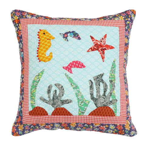 Cushion Cover Kids Aquarium Hand Embroidered 16 x 16 Cotton