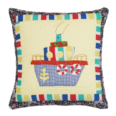 Cushion Cover Kids Ship Hand Embroidered 16 x 16 Cotton