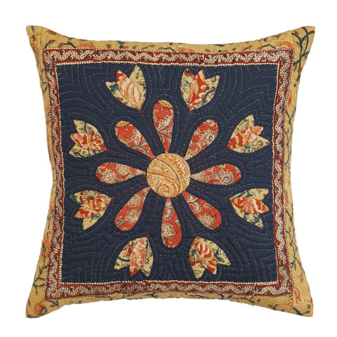 Cushion Cover Madhubani Flower Motif 16 x 16 Cotton