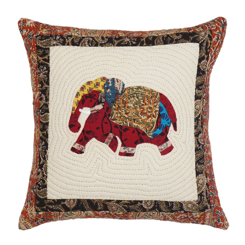 Madhubani Elephant Motif 16 x 16 Cotton Cushion Cover