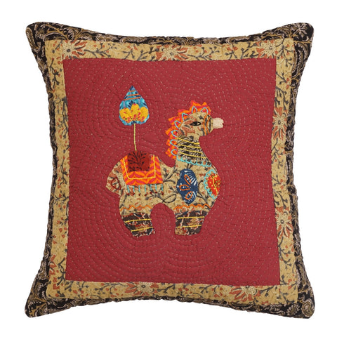 Cushion Cover Madhubani Horse Motif 16 x 16 Cotton