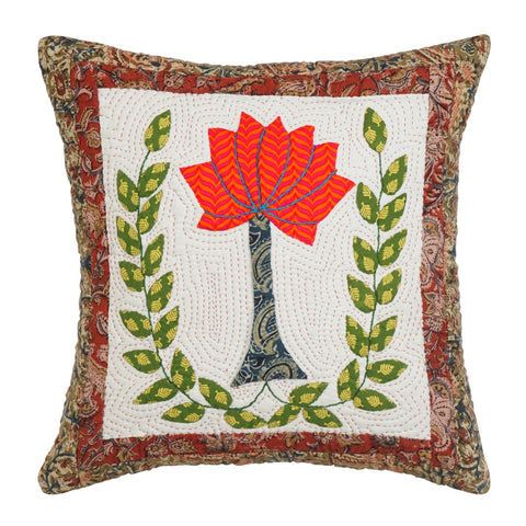 Cushion Cover Madhubani Lotus Motif 16 x 16 Cotton