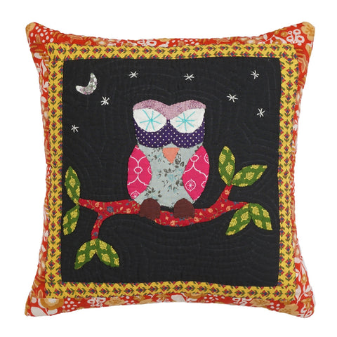 Cushion Cover Madhubani Owl Motif 16 x 16 Cotton