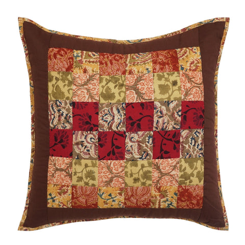 Cushion Cover Patchwork Hand Embroidered 16 x 16 Cotton