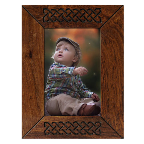 Photo Frame 6x4 Brown Wooden Handcrafted