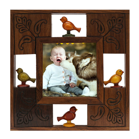 Photo Frame 4x4 Wooden Brown Channapatna Fusion