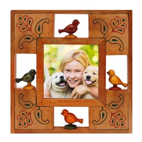 Photo Frame 4x4 Wooden Yellow Channapatna Style