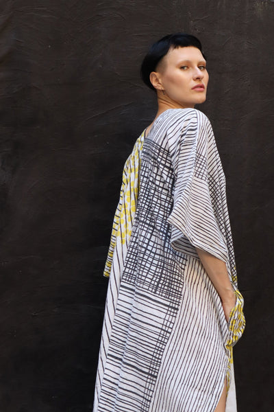 Caftan in abstract mosaic print