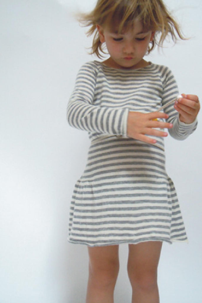 Cashmere stripped dress - Camel and Silver stripes