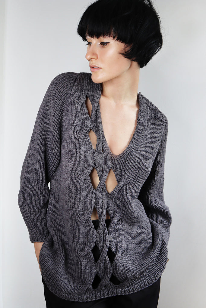 Pre-Order. Asymmetrical front open cable hand knit sweater