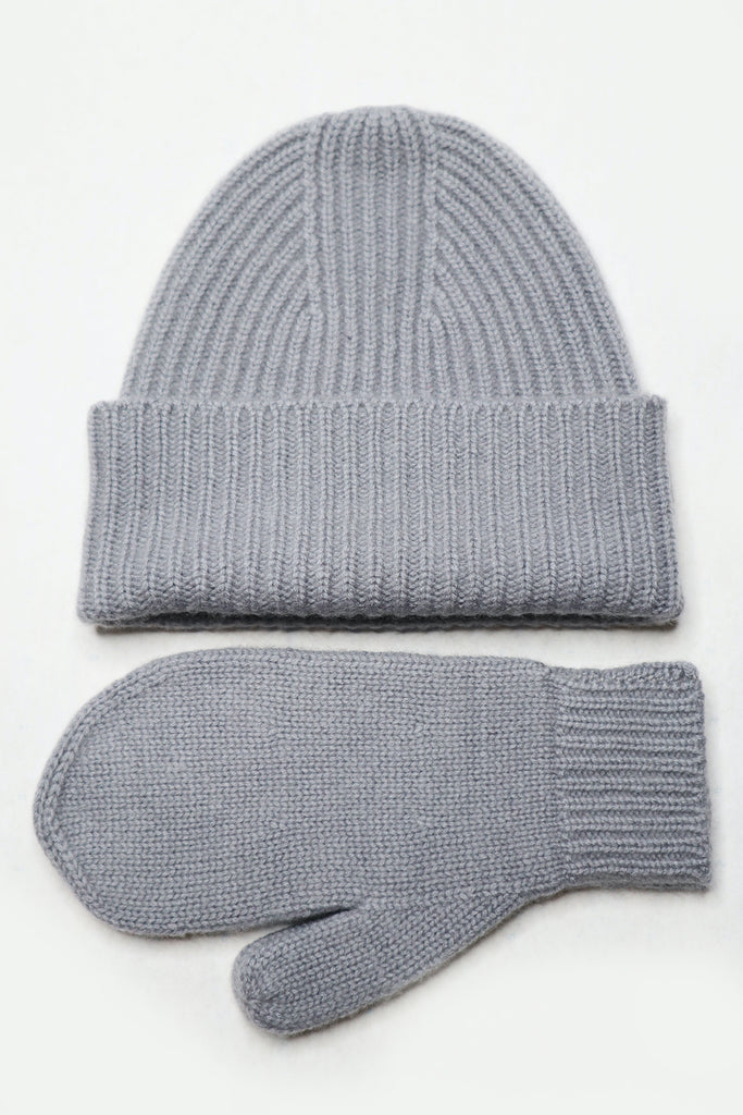 Cashmere Bennie & Gloves set. Mist grey.