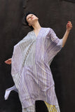 Kaftan in purple & black stripe