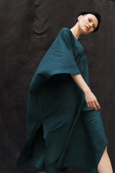 Kaftan in teal combo stripe