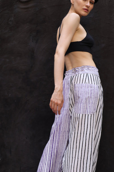 Elliot pants in purple & black combo stripe