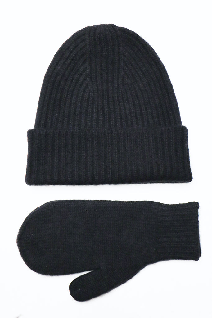 Cashmere Bennie & Gloves set. Black
