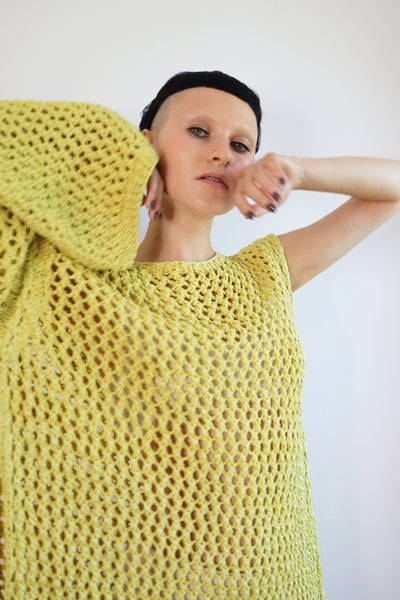 The super-sized assembled sweater. Lime color