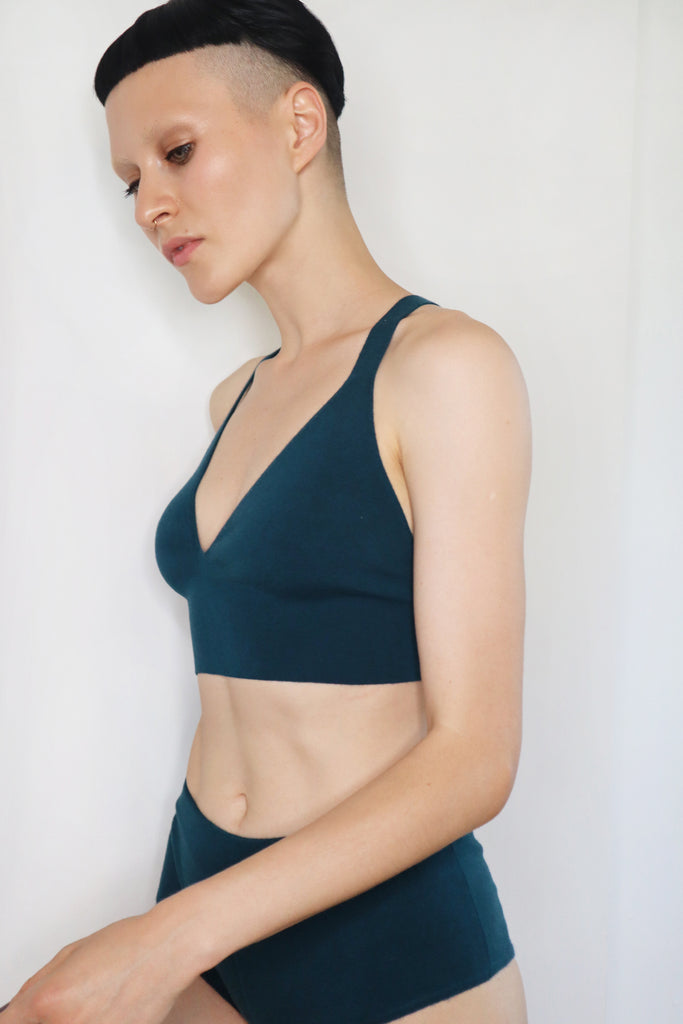 Second skin cashmere bralette in teal