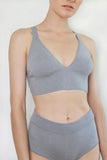 Second skin cashmere bralette. Medium grey color