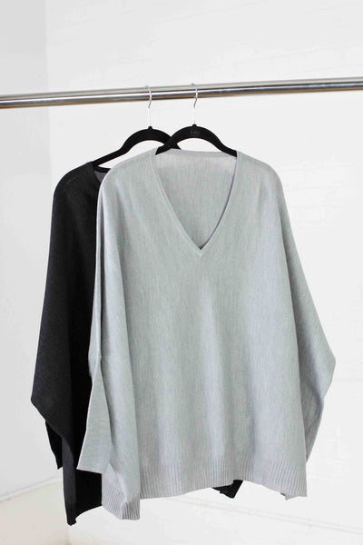 Merino classic cocoon Sweater - Silver - SOLD OUT