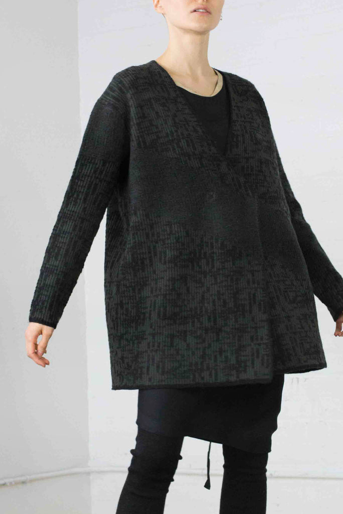 Digital jacquard cardigan Army / Charcoal