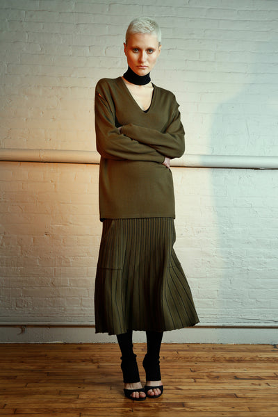 Pleated skirt with pockets - Army color