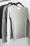 Second skin cashmere ribbed crewneck in Silver