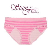 Load image into Gallery viewer, Anigan StainFree Seamless Pink Stripe Hipster Lace Trim Menstrual Period Panty - Anigan   - 4