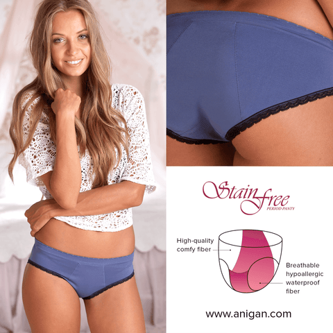 Anigan First Period Kit with Stylish Blue Hipster Menstrual Underwear - Anigan   - 3