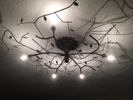 Chandelier with Patina Leaves
