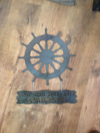 Ship Wheel Hanging Sign