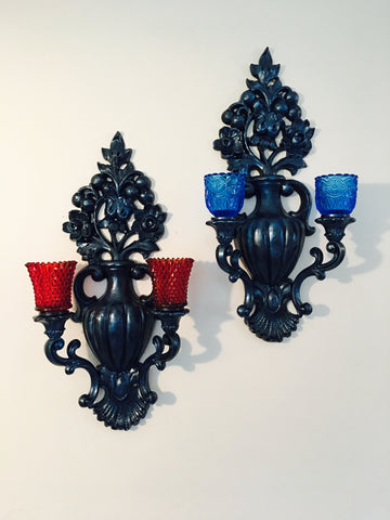 Vintage Homco Wall Sconce Candleholder Pair 1965 Home Decor