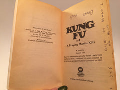 Kung Fu - A Praying Mantis Kills Novelization 1974 Paperback - LaCreeperie