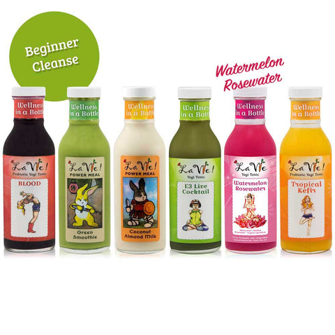 1-Day Probiotic Juice Cleanse (6 bottles) w/ Watermelon Rosewater