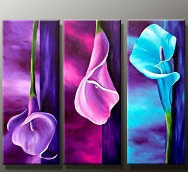 """THREE LILIES IN PURPLE, PINK & BLUE"""