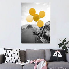 """WOMAN SHOWING BALLOONS"""