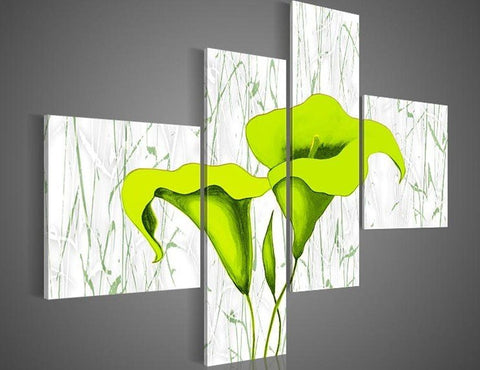 """GREEN LILIES OVER WHITE"""