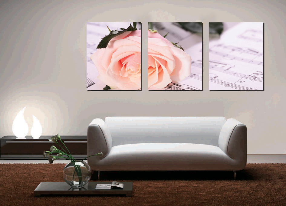 Rose flower rectangle 3 piece wall art free global shipping pink rose on a song mightylinksfo