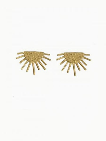 Brass Sun Post Earrings