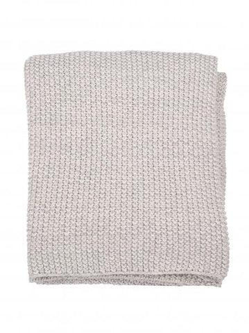 Moss Cotton Knit Throw - Grey
