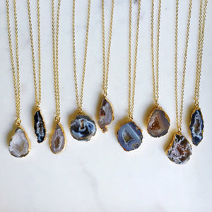 Mesa Blue - Small Geode Druzy Slice Charm Necklace
