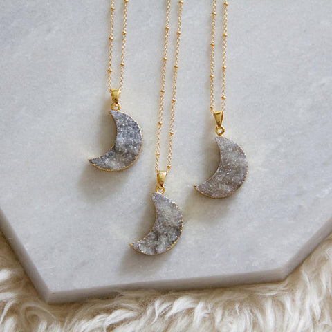 Mesa Blue - Druzy Moon  Long Necklace