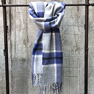 Classic Plaid Blanket Scarf Blue
