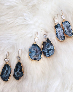 Mesa Blue - Rhinestone and Natural Geode Slice Earrings