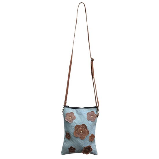 Leather Flower Crossbody