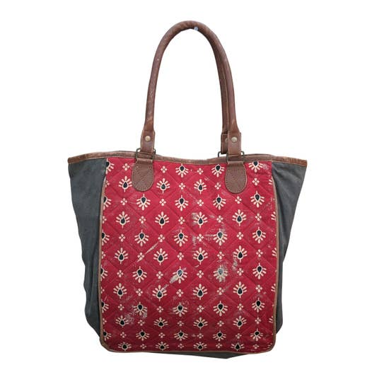 Quilted Red Tote