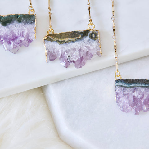 Mesa Blue - Amethyst Slice Bar Chain Necklace