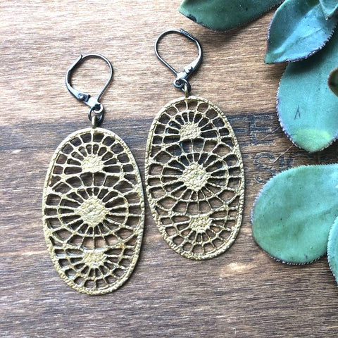 Intricate Brass Pendant Earrings