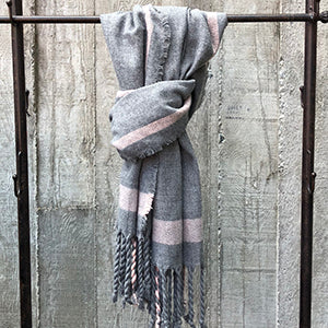 Fringed Plaid Grey Scarf