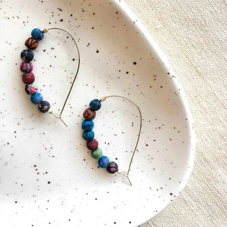 Sari Silk Curved Hoops