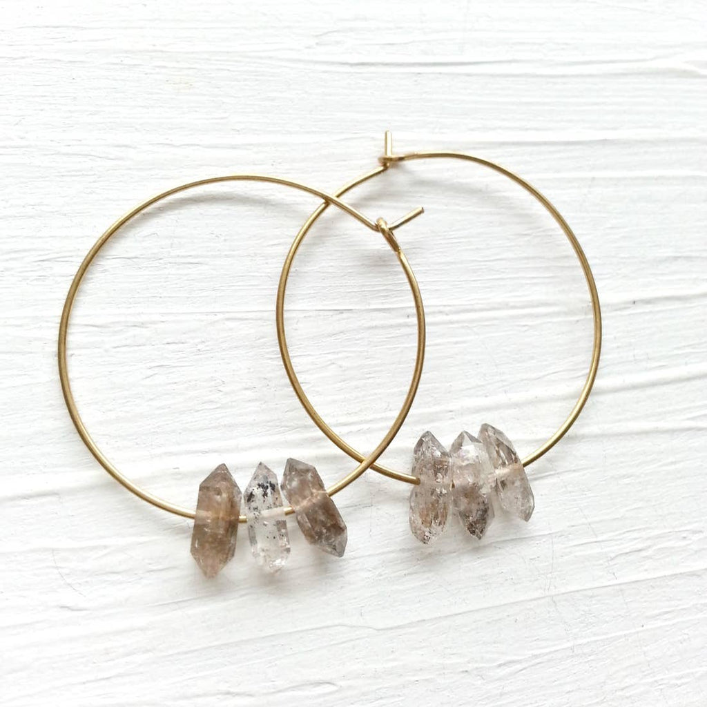 Triple Quartz Hoop Earrings